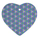 Colorful Retro Geometric Pattern Ornament (Heart)  Front