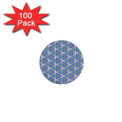 Colorful Retro Geometric Pattern 1  Mini Buttons (100 Pack)  by DanaeStudio