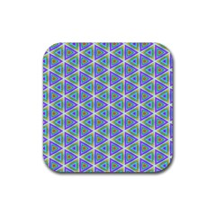 Colorful Retro Geometric Pattern Rubber Coaster (square)  by DanaeStudio