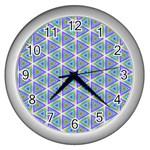 Colorful Retro Geometric Pattern Wall Clocks (Silver)