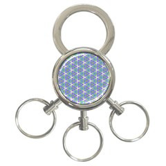 Colorful Retro Geometric Pattern 3 Ring Key Chains