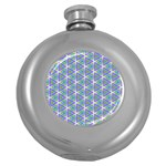 Colorful Retro Geometric Pattern Round Hip Flask (5 oz) Front