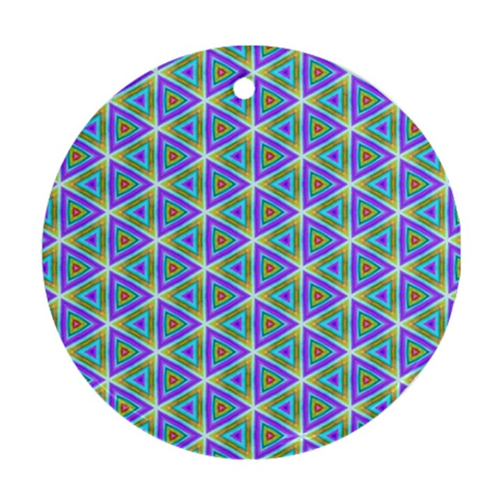 Colorful Retro Geometric Pattern Round Ornament (Two Sides)