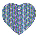 Colorful Retro Geometric Pattern Heart Ornament (2 Sides) Front