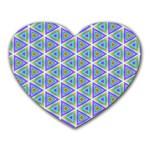 Colorful Retro Geometric Pattern Heart Mousepads Front