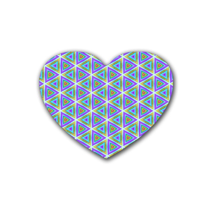 Colorful Retro Geometric Pattern Heart Coaster (4 pack)