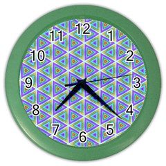Colorful Retro Geometric Pattern Color Wall Clocks by DanaeStudio