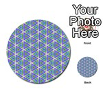 Colorful Retro Geometric Pattern Multi-purpose Cards (Round)  Back 21