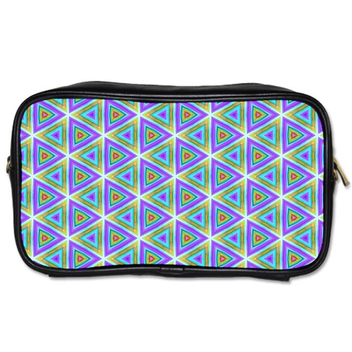 Colorful Retro Geometric Pattern Toiletries Bags