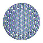 Colorful Retro Geometric Pattern Ornament (Round Filigree)  Front