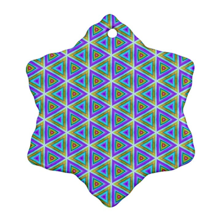 Colorful Retro Geometric Pattern Snowflake Ornament (2-Side)
