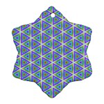 Colorful Retro Geometric Pattern Snowflake Ornament (2-Side) Back