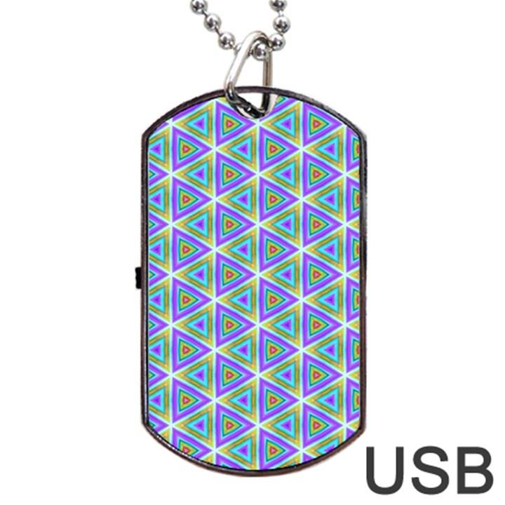 Colorful Retro Geometric Pattern Dog Tag USB Flash (One Side)