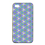 Colorful Retro Geometric Pattern Apple iPhone 4/4s Seamless Case (Black) Front