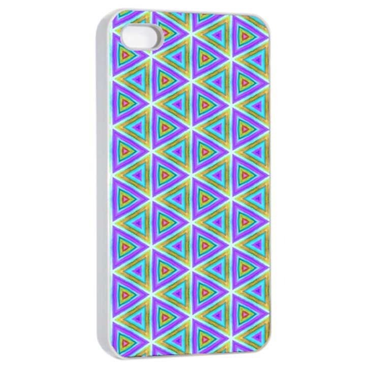 Colorful Retro Geometric Pattern Apple iPhone 4/4s Seamless Case (White)