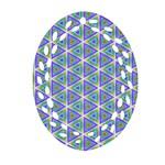 Colorful Retro Geometric Pattern Oval Filigree Ornament (2-Side)  Back