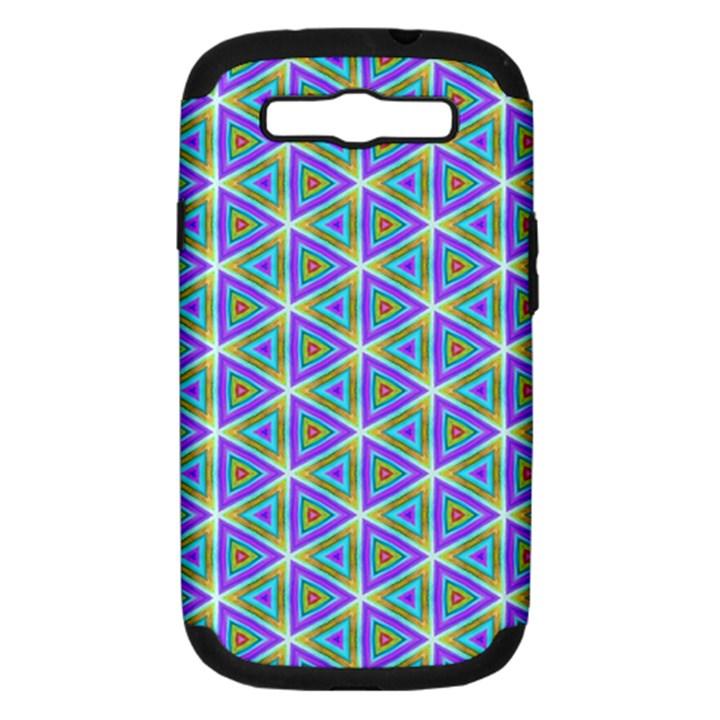 Colorful Retro Geometric Pattern Samsung Galaxy S III Hardshell Case (PC+Silicone)