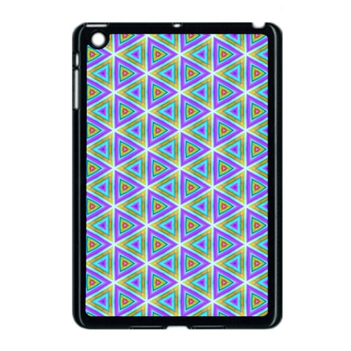 Colorful Retro Geometric Pattern Apple iPad Mini Case (Black)
