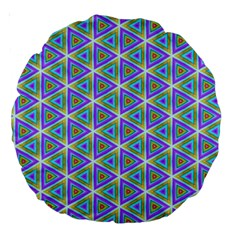 Colorful Retro Geometric Pattern Large 18  Premium Round Cushions