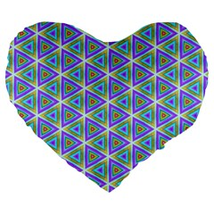 Colorful Retro Geometric Pattern Large 19  Premium Heart Shape Cushions