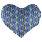 Colorful Retro Geometric Pattern Large 19  Premium Heart Shape Cushions Front
