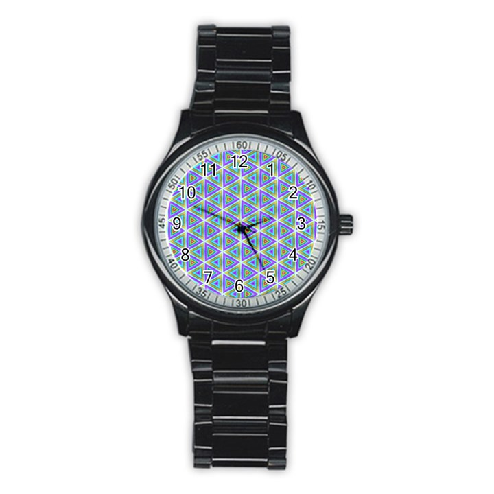 Colorful Retro Geometric Pattern Stainless Steel Round Watch