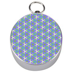 Colorful Retro Geometric Pattern Silver Compasses