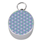 Colorful Retro Geometric Pattern Mini Silver Compasses
