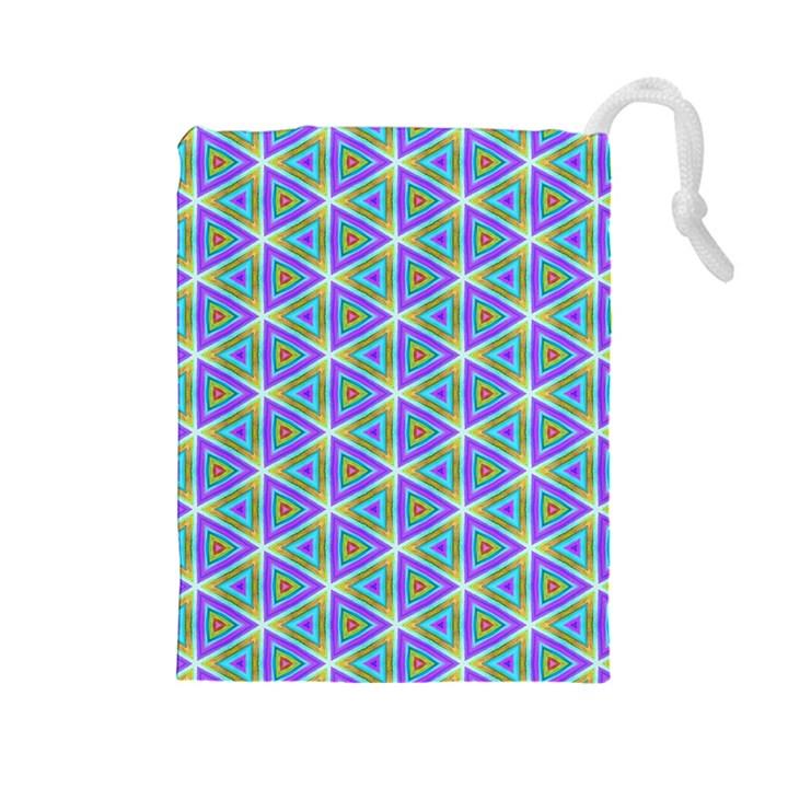 Colorful Retro Geometric Pattern Drawstring Pouches (Large)
