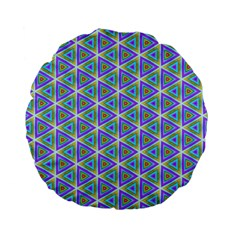 Colorful Retro Geometric Pattern Standard 15  Premium Flano Round Cushions by DanaeStudio