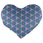 Colorful Retro Geometric Pattern Large 19  Premium Flano Heart Shape Cushions Back