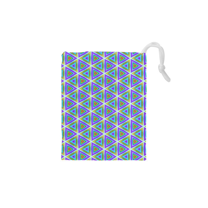 Colorful Retro Geometric Pattern Drawstring Pouches (XS)
