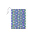 Colorful Retro Geometric Pattern Drawstring Pouches (XS)  Back