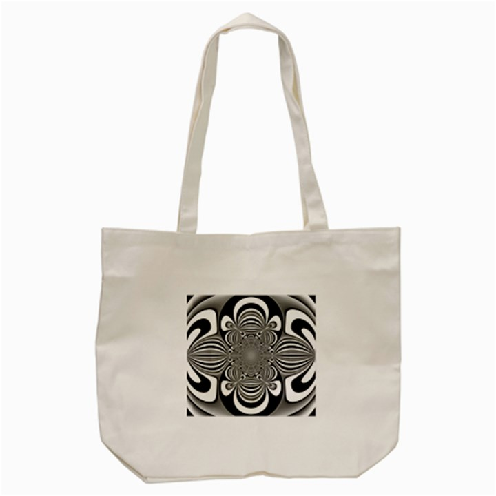 Black And White Ornamental Flower Tote Bag (Cream)