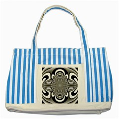 Black And White Ornamental Flower Striped Blue Tote Bag by designworld65