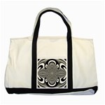 Black And White Ornamental Flower Two Tone Tote Bag