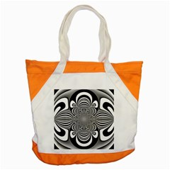 Black And White Ornamental Flower Accent Tote Bag