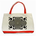 Black And White Ornamental Flower Classic Tote Bag (Red) Front