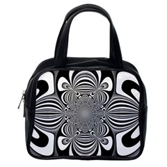 Black And White Ornamental Flower Classic Handbags (one Side) by designworld65