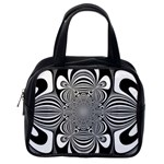 Black And White Ornamental Flower Classic Handbags (One Side) Front