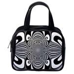 Black And White Ornamental Flower Classic Handbags (2 Sides) Back