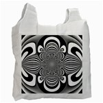 Black And White Ornamental Flower Recycle Bag (Two Side)
