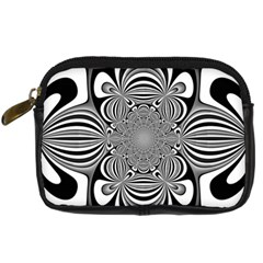 Black And White Ornamental Flower Digital Camera Cases