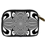 Black And White Ornamental Flower Digital Camera Cases Back