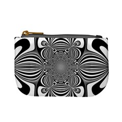 Black And White Ornamental Flower Mini Coin Purses by designworld65