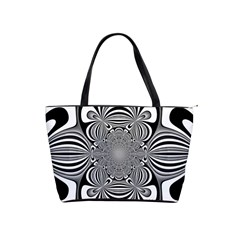 Black And White Ornamental Flower Shoulder Handbags by designworld65