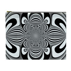 Black And White Ornamental Flower Cosmetic Bag (xl) by designworld65