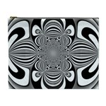 Black And White Ornamental Flower Cosmetic Bag (XL)