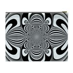 Black And White Ornamental Flower Cosmetic Bag (XL) Back