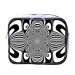 Black And White Ornamental Flower Mini Toiletries Bags